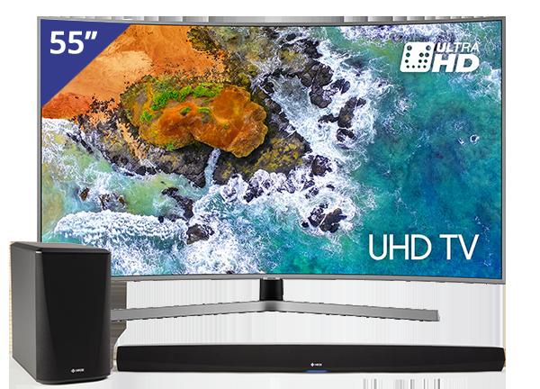 Samsung 55 inch/140 cm Ultra HD Curved TV + HEOS HS2 Home Cinema